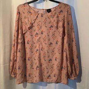 Blush Floral Worthington Long-Sleeve Blouse